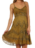 Sakkas Stonewashed Rayon Adjustable Spaghetti Straps Mid Length Dress#color_Old Gold