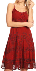 Sakkas Stonewashed Rayon Adjustable Spaghetti Straps Mid Length Dress#color_Red