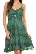 Sakkas Stonewashed Rayon Adjustable Spaghetti Straps Mid Length Dress#color_Sage Green