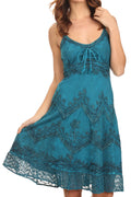 Sakkas Stonewashed Rayon Adjustable Spaghetti Straps Mid Length Dress#color_Turquoise