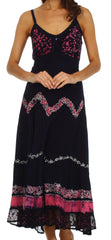 Sakkas Luna Batik Embroidered Adjustable Spaghetti Strap Dress