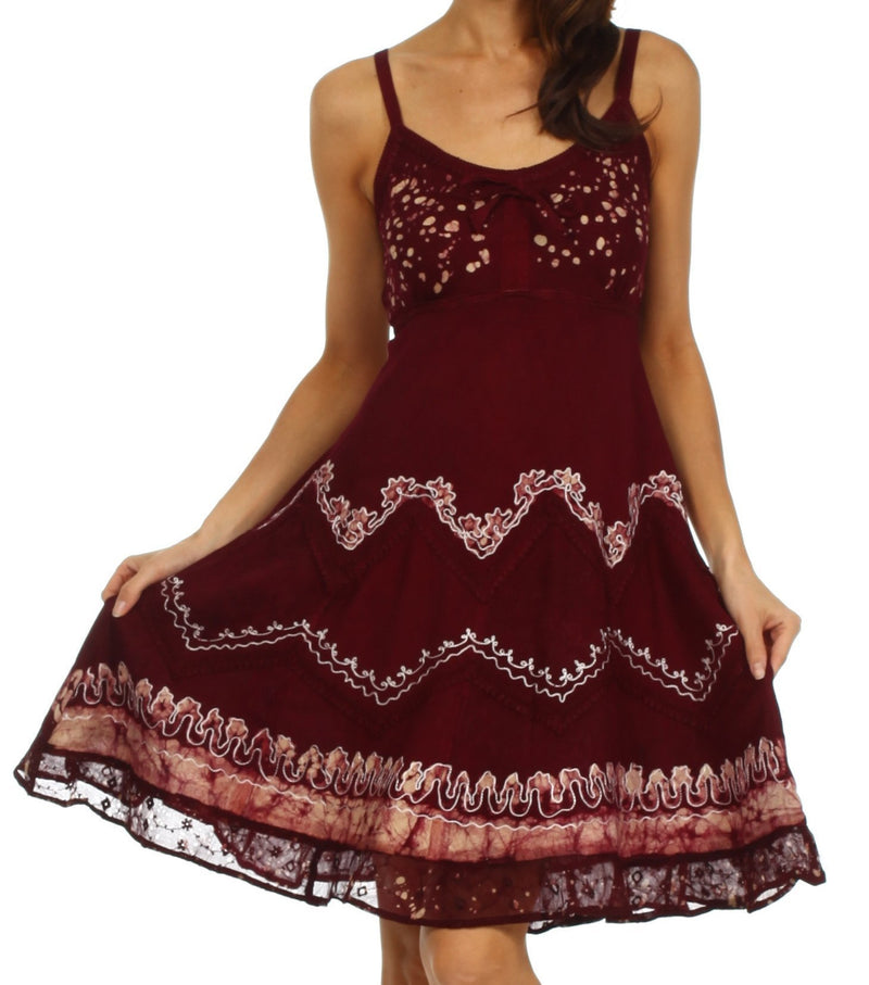 Sakkas Jolie Batik Embroidered Adjustable Spaghetti Strap Dress