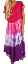 Sakkas Multi Color Tie Dye Cap Sleeve Caftan Dress / Cover Up