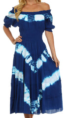 Sakkas Tie Dye Peasant Gypsy Boho Dress