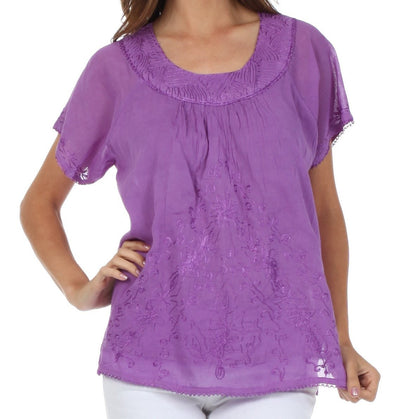 Sakkas Embroidered 100% Cotton Scoop Neck Semi-Sheer Short Sleeve Gauzy Top / Blouse