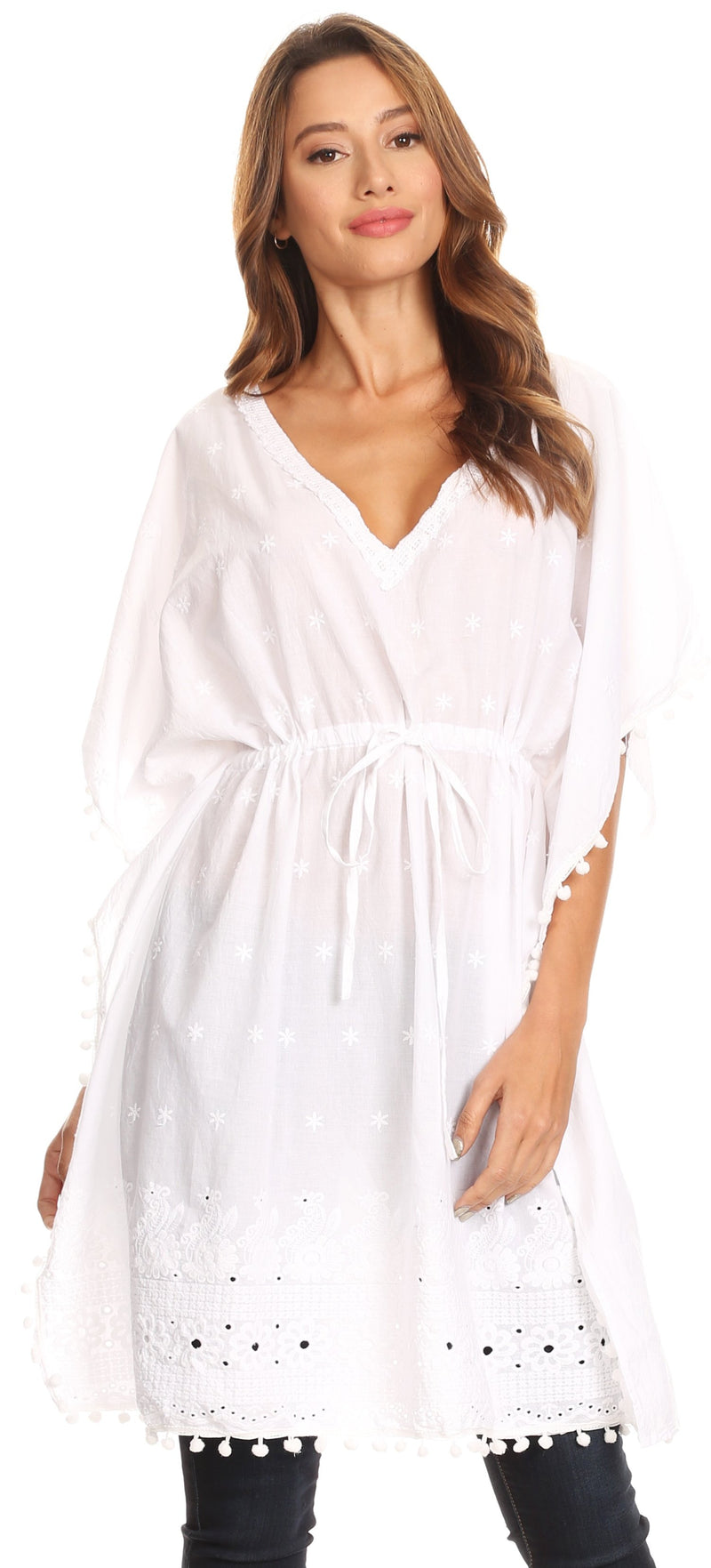 Sakkas Amelia Embroidered Eyelet V-Neck Caftan Cover Up with Drawstring Waist