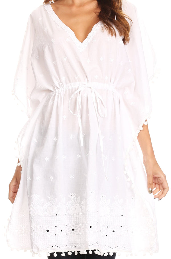Sakkas Amelia Embroidered Eyelet V-Neck Caftan Cover Up with Drawstring Waist#color_White