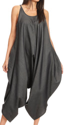 Sakkas Latrice Balloon Sleeveless Relax Fit Jumpsuit Tent with Pockets Unique