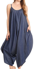Sakkas Latrice Balloon Sleeveless Relax Fit Jumpsuit Tent with Pockets Unique#color_Chambray