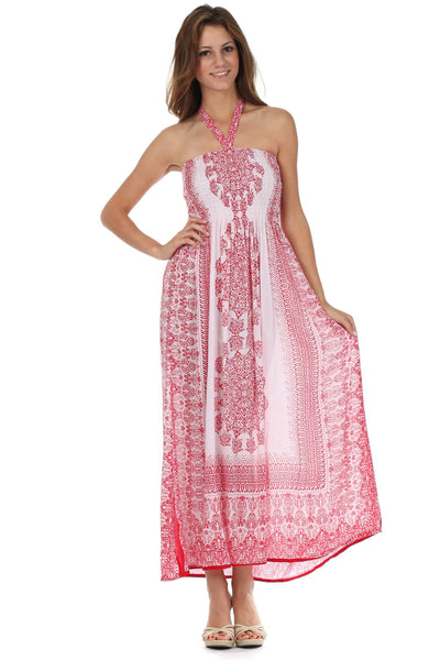 Sakkas Mehndi Henna Smocked Bodice Maxi Dress