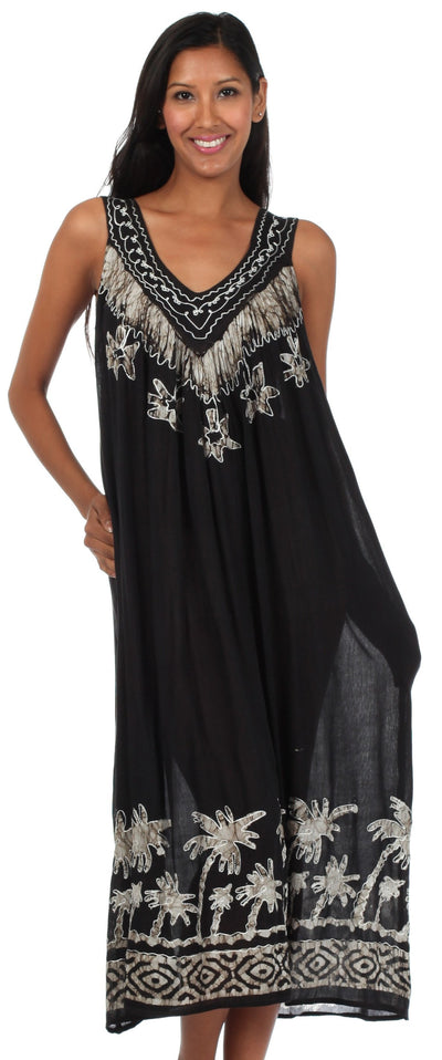 Sakkas Embroidered Palm Tree V-Neck Caftan Cotton Dress