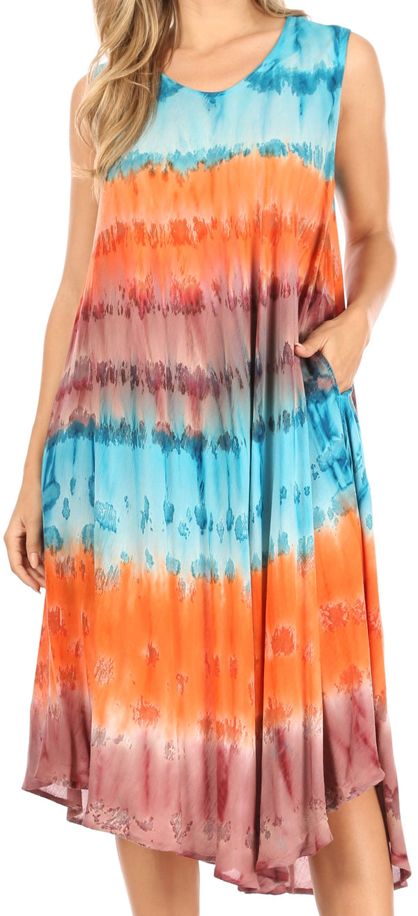 Sakkas Desert Sun Caftan Dress / Cover Up#color_Blue / Coral