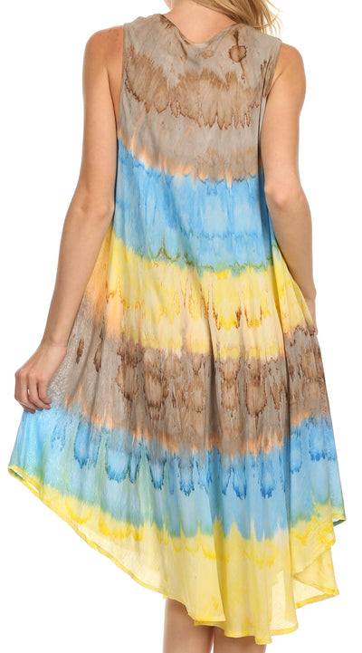 group-Brown / Blue (Sakkas Desert Sun Caftan Dress / Cover Up)