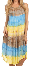 Sakkas Desert Sun Caftan Dress / Cover Up#color_Brown / Blue
