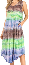 Sakkas Desert Sun Caftan Dress / Cover Up#color_Charcoal / Green