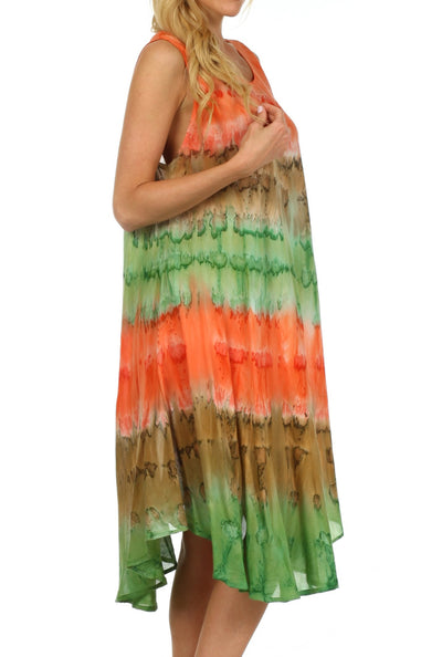 group-Coral / Brown (Sakkas Desert Sun Caftan Dress / Cover Up)