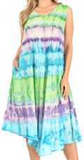 Sakkas Desert Sun Caftan Dress / Cover Up#color_Green / Purple