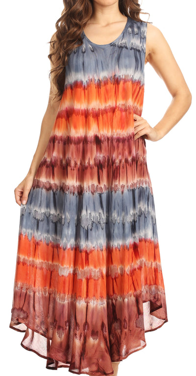 group-Grey / Coral (Sakkas Desert Sun Caftan Dress / Cover Up)