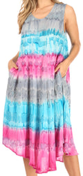 Sakkas Desert Sun Caftan Dress / Cover Up#color_Grey / Turquoise