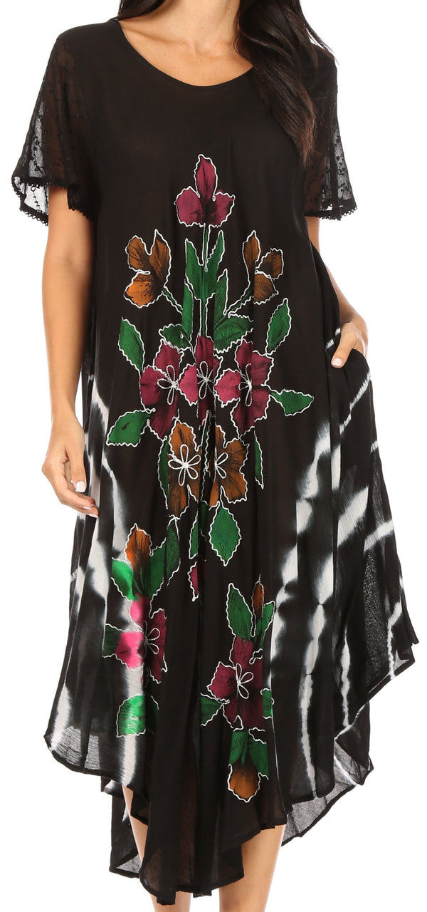 Sakkas Embroidered Painted Floral Cap Sleeve Cotton Dress#color_Black