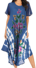 Sakkas Embroidered Painted Floral Cap Sleeve Cotton Dress#color_Blue