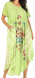Sakkas Embroidered Painted Floral Cap Sleeve Cotton Dress#color_Green