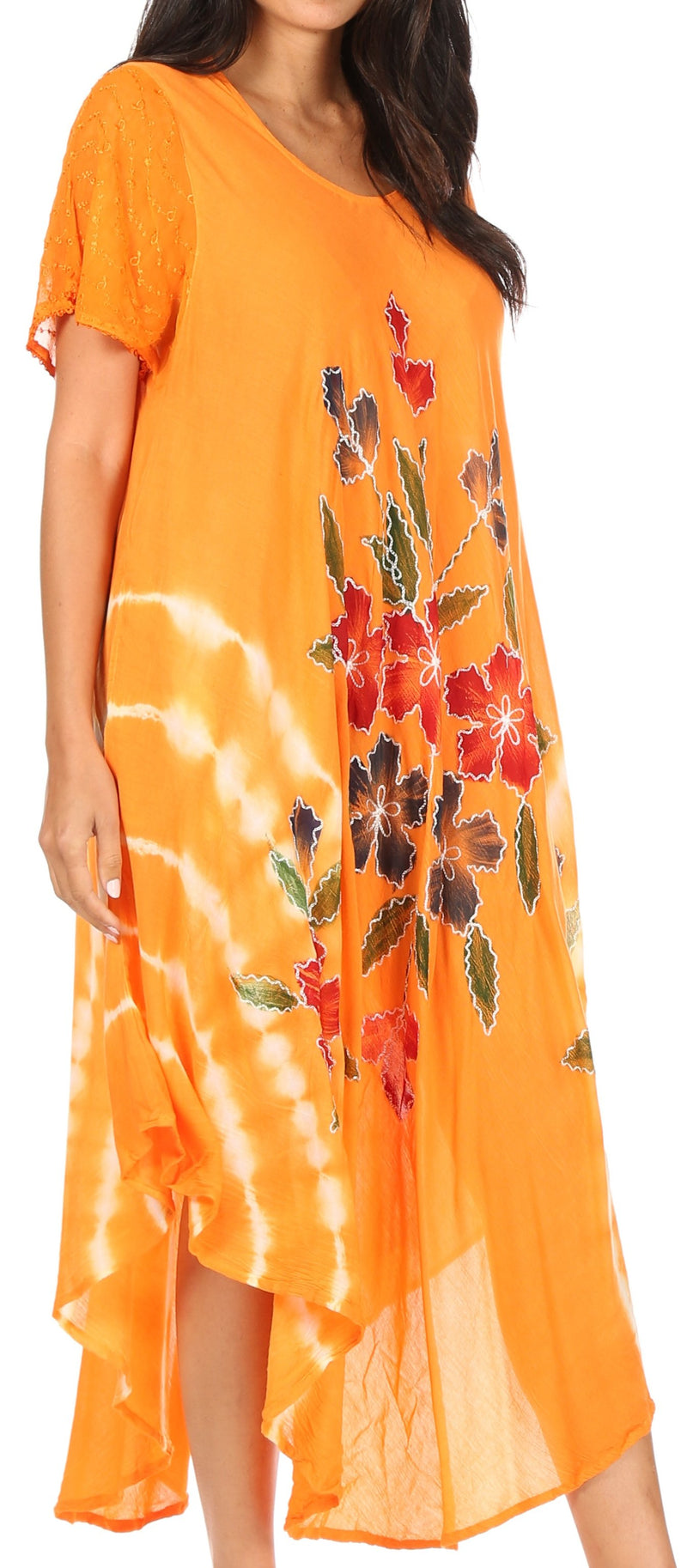 Sakkas Embroidered Painted Floral Cap Sleeve Cotton Dress