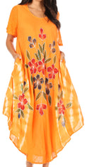 Sakkas Embroidered Painted Floral Cap Sleeve Cotton Dress#color_Orange