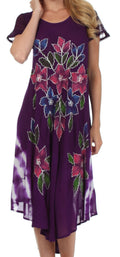 Sakkas Embroidered Painted Floral Cap Sleeve Cotton Dress#color_Purple