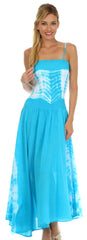 2-Tone Tie Dye Sleeveless Smocked Top Guazy Long Dress