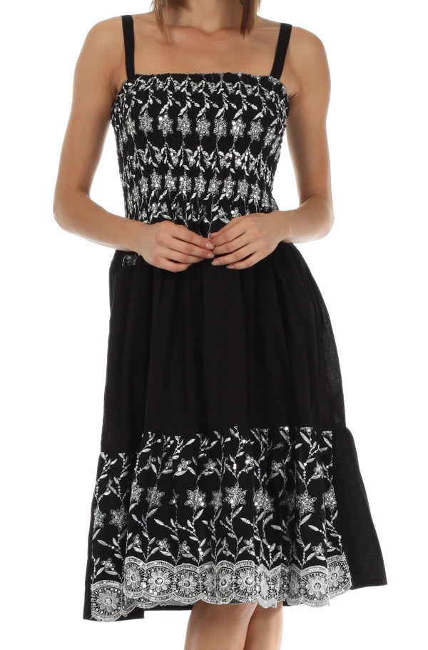Sakkas Sequin Embroidered Smocked Bodice Knee Length Dress