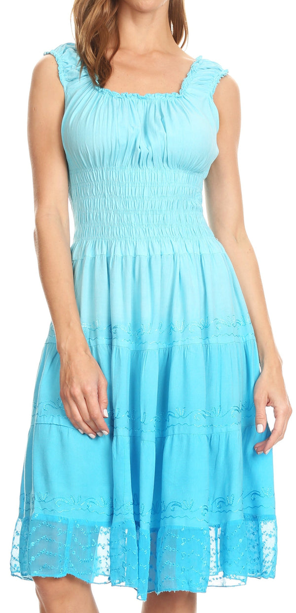 Sakkas Spring Maiden Ombre Peasant Dress#color_Baby Blue