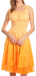 Sakkas Spring Maiden Ombre Peasant Dress#color_Tangerine