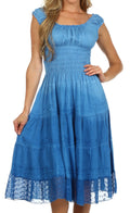 Sakkas Spring Maiden Ombre Peasant Dress#color_Wildflower Blue