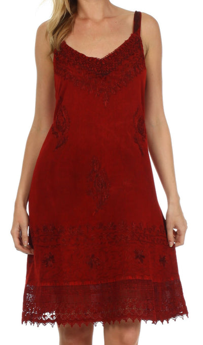 Sakkas Ramita Embroidered Rayon Dress