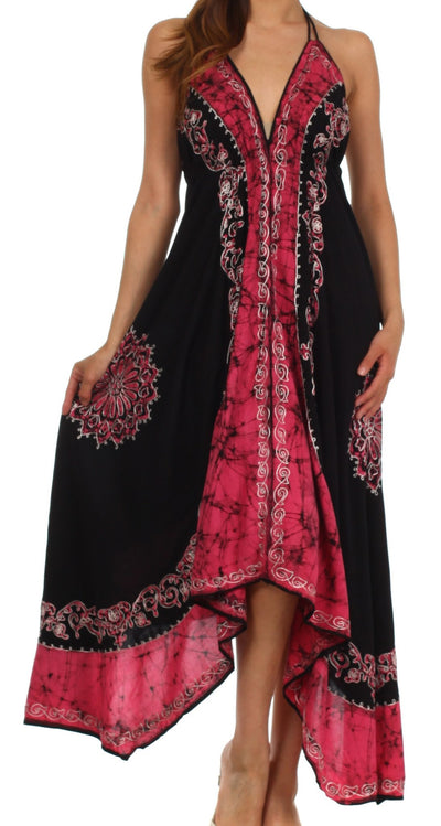 Sakkas Serenity Embroidered Batik Halter Dress