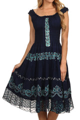 Sakkas Gigi Boho Sleeveless Smocked Waist Embroidered Mid-Length Batik Dress