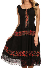 Sakkas Monica Boho Smocked Waist Sleeveless Mid-Length Embroidered Batik Dress