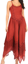 Sakkas Rayon Embroidered Stonewashed Adjustable Spaghetti Straps Long Dress#color_Burgundy