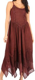 Sakkas Rayon Embroidered Stonewashed Adjustable Spaghetti Straps Long Dress#color_Chocolate