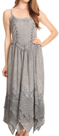 Sakkas Rayon Embroidered Stonewashed Adjustable Spaghetti Straps Long Dress#color_Grey