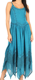 Sakkas Rayon Embroidered Stonewashed Adjustable Spaghetti Straps Long Dress#color_Turquoise