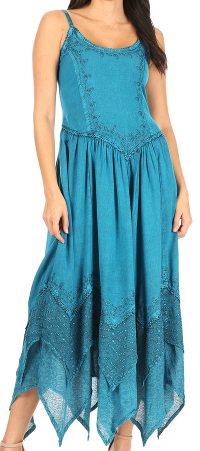 Sakkas Rayon Embroidered Stonewashed Adjustable Spaghetti Straps Long Dress