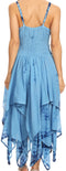 Sakkas Annabella Corset Bodice Handkerchief Hem Dress#Color_Blue
