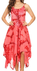 Sakkas Annabella Corset Bodice Handkerchief Hem Dress#Color_Coral / Red