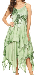 Sakkas Annabella Corset Bodice Handkerchief Hem Dress#Color_Green