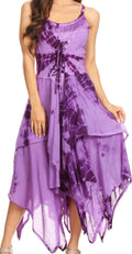 Sakkas Annabella Corset Bodice Handkerchief Hem Dress#Color_Purple