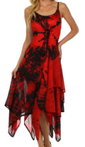 Sakkas Annabella Corset Bodice Handkerchief Hem Dress#Color_Red / Black