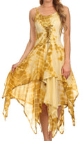 Sakkas Annabella Corset Bodice Handkerchief Hem Dress#Color_Tan