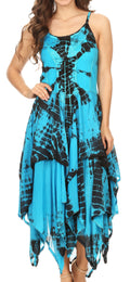 Sakkas Annabella Corset Bodice Handkerchief Hem Dress#Color_Turquoise / Black